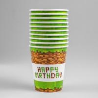 Стакан бумажный Happy birthday! Minecraft,, 250 мл, 10 шт