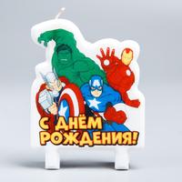 Свеча в торт «С Днём Рождения!», Мстители: Железный человек, Тор, Халк, Капитан Америка, 75 х 100 мм