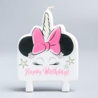 Свеча в торт «Happy Birthday!», Минни Маус Единорог, 74 х 100 мм