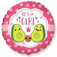 """Шар фольгированный 18"""" «С рождением девочки!», семья авокадо, круг, розовый"""