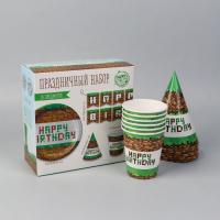 Набор бумажной посуды «С Днём рождения Minecraft», 6 тарелок, 6 стаканов, 6 колпаков, 1 гирлянда