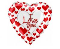 """Фольгированный шар Сердце Я люблю тебя (простые красные сердечки) (18""""/46 см)"""