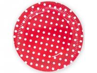 Бумажные тарелки красная в горох, 6 шт, 18см