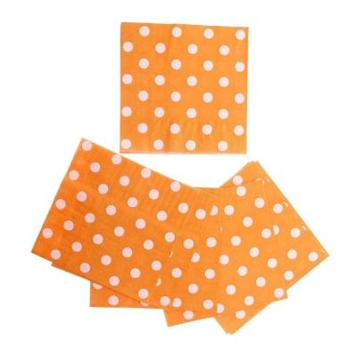 Салфетки оранжевые в горох (набор 20 шт)