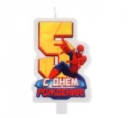 """Свеча в торт """"С днем рождения"""", цифра 5, Человек-Паук"""