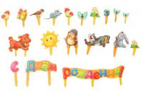 """Набор для украшения торта """"С Днём рождения!""""зверята"""