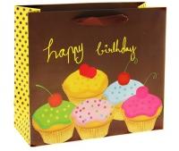 """Пакет ламинированный """"День рождения"""", цвет шоколад"""