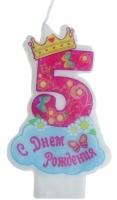 """Свеча в торт """"С днем рождения"""" цифра """"5"""""""