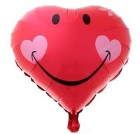Шар фольгированный сердечко улыбка с цветком
