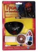 """Грим для карнавала """"Пират"""" 4 цвета, кисть, наглазник, спонж"""