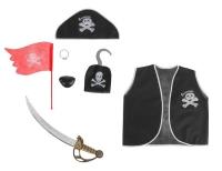 """Набор """"Пирата"""" 7 предметов: жилетка, наглазник, сабля, флаг, шляпа, кольцо, крюк, размер L"""