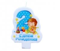"""Свеча в торт цифра 2 для мальчиков """"С днем рождения!"""", 6 х 8 см"""