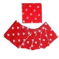 Салфетки красные в сердечко (набор 20 шт)