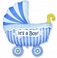 Фольгированный шар (40»/102 см) , Коляска для мальчика, Голубой, 1 шт.