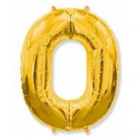 """Фольгированный шар цифра 0, (40""""/102 см), Золотого"""