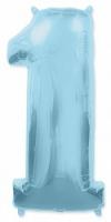 """Фольгированный шар цифра 1, (40""""/102 см), голубой"""