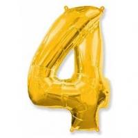 """Фольгированный шар (40""""/102 см) Цифра, 4, Золото"""
