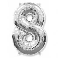 """Фольгированный шар (40""""/102 см) Цифра, 8, Серебро"""