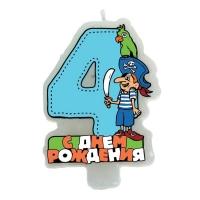 """Свеча в торт """"Пират"""" цифра """"4"""""""