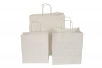 Бумажный пакет крафт, белый, 220*120*250 мм