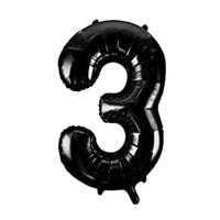 """Фольгированный шар цифра 3 (40""""/102 см) Черный"""