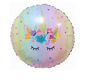"""Фольгированный шар """"Волшебный единорог в цветах"""" 46 см"""