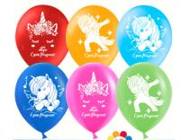 """Воздушный шарик 12"""" """"С Днем Рождения!"""" (волшебные единороги), Ассорти, пастель"""