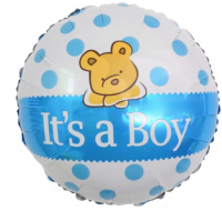 """Фольгированный шар """"С Рождением Малыша!"""" (плюшевый мишка), Голубой Круг 18"""""""