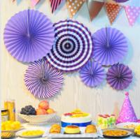 """Бумажный веер """"Цветочный декор"""", фиолетового (набор 6 шт)"""