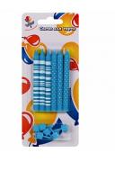 Свечи Полоски и Точки голубые 8 см с держателями 6шт.