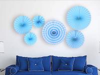 """Бумажный веер """"Цветочный декор"""", голубой (набор 6 шт)"""
