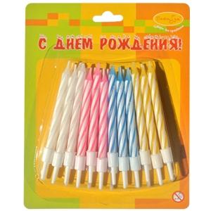 """Свечи восковые для торта """"Яркая полоска"""" (набор 10 шт и 10 подставок)"""
