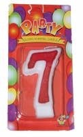 Свеча цифра 7 красная