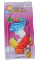Свеча в торт 3 цветная