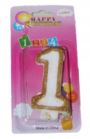 Свеча в торт цифра 1 золотые блёстки