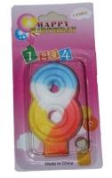 Свеча цифра 8 цветная