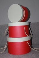 Коробка красно-бежевая цилиндр