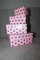 Коробка розовая в горох, прямоугольные