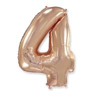 """Фольгированный шар цифра 4, (40""""/102 см),Gold Rose"""