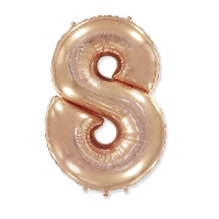 """Фольгированный шар цифра 8, (40""""/102 см),Gold Rose"""