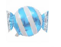 """Фольгированный шар """"Голубая конфета"""" в полоску"""
