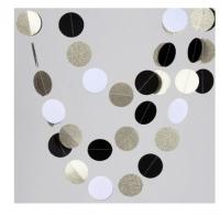 Подвеска Круги, Черный/Белый/Серебро, 220см