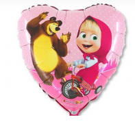 """Фольгированный шар """"Маша и Медведь в сердце"""" 18""""/45см"""