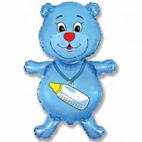 """Фольгированный шар """"Медвежонок-мальчик"""", Синий, 36""""/91 см"""