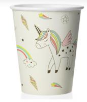 "Бумажные стаканы ""Радужный единорог"", 180 мл ,Белый, 6 шт."