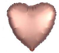 """Фольгированный  шар""""Сердце"""" 18"""" Розовое Золото, Сатин"""