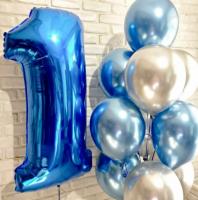 """Сет шаров """"1 годик"""", сине-серебряный"""