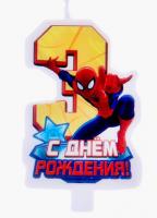 """Свеча в торт """"С днем рождения"""", цифра 3, Человек-Паук"""