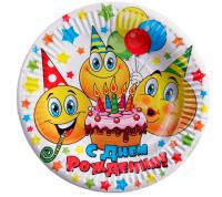 """Набор бумажных тарелок """"С днем рождения"""" смайлики и тортик (6 шт.), 18 см"""