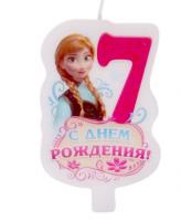 """Свеча в торт """"С днем рождения"""", цифра 7, Холодное сердце"""